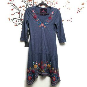 JWLA Johnny Was Embroidered 3/4 Sleeve Dress Sz S
